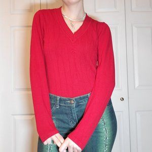 Cherry red soft ribbed long sleeved V neck top